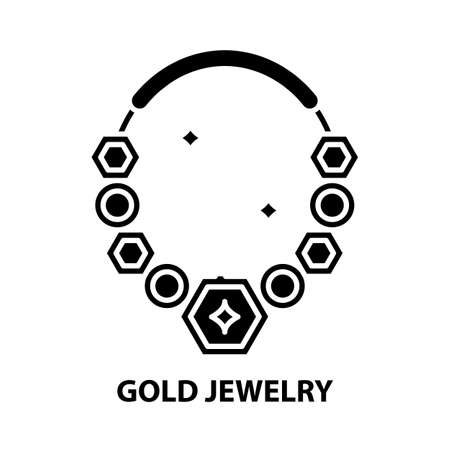 gold jewelry icon, black vector sign with editable strokes, concept illustration