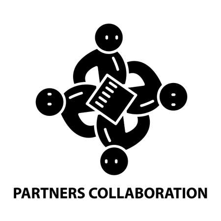 partners collaboration icon, black vector sign with editable strokes, concept illustration