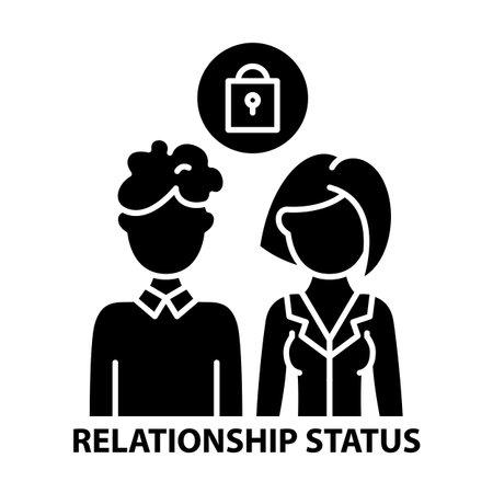 relationship status icon, black vector sign with editable strokes, concept illustration Vektoros illusztráció