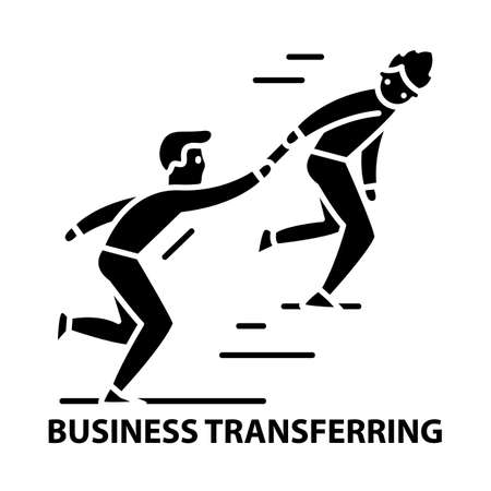 business transferring icon, black vector sign with editable strokes, concept illustration