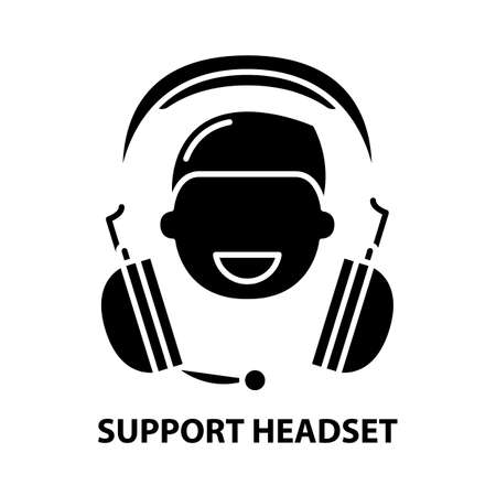 support headset icon, black vector sign with editable strokes, concept illustration