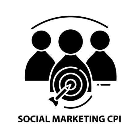 social marketing cpi icon, black vector sign with editable strokes, concept illustration
