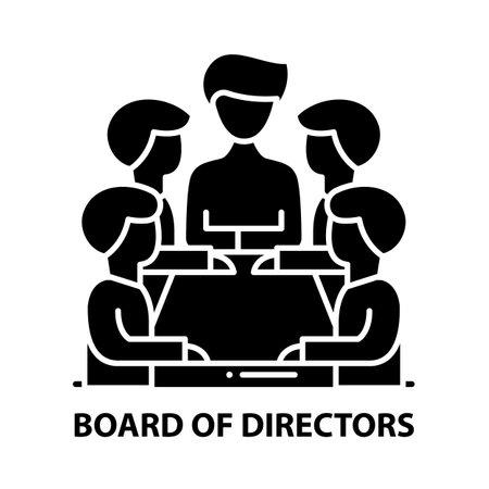 board of directors icon, black vector sign with editable strokes, concept illustration