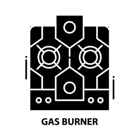 gas burner icon, black vector sign with editable strokes, concept illustration