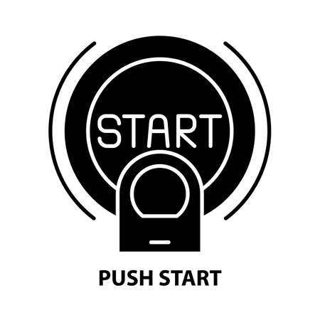push start icon, black vector sign with editable strokes, concept illustration