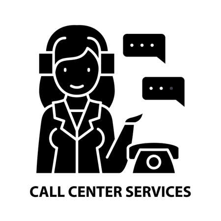 call center services icon, black vector sign with editable strokes, concept illustration