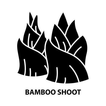 bamboo shoot icon, black vector sign with editable strokes, concept illustration