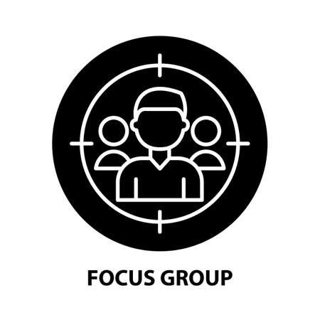 focus group icon, black vector sign with editable strokes, concept illustration