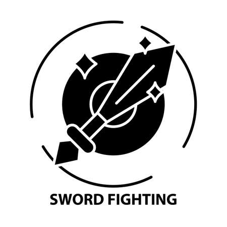 sword fighting icon, black vector sign with editable strokes, concept illustration Ilustração