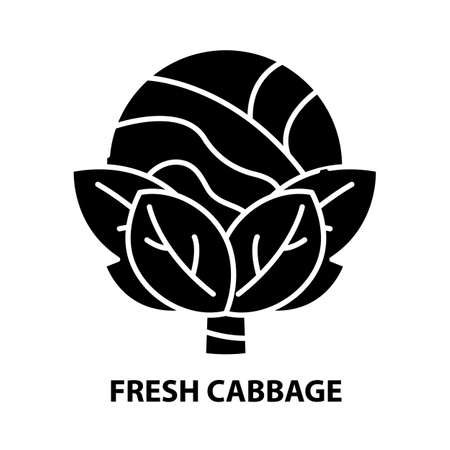 fresh cabbage icon, black vector sign with editable strokes, concept illustration