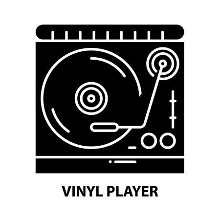 vinyl player icon, black vector sign with editable strokes, concept illustration