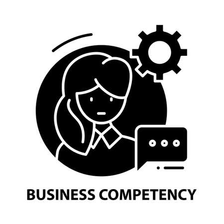 business competency icon, black vector sign with editable strokes, concept illustration