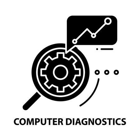 computer diagnostics icon, black vector sign with editable strokes, concept illustration