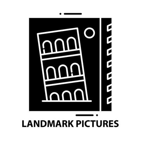 landmark pictures icon, black vector sign with editable strokes, concept illustration