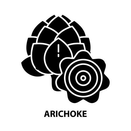 arichoke icon, black vector sign with editable strokes, concept illustration