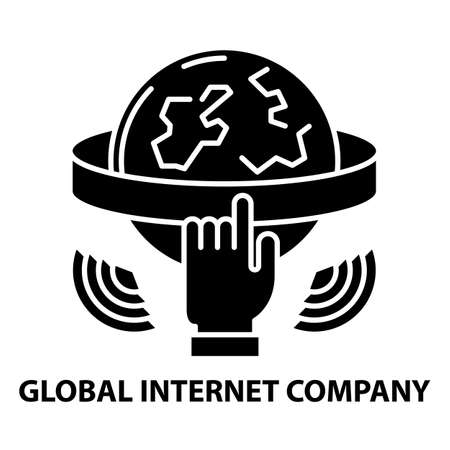 global internet company icon, black vector sign with editable strokes, concept illustration