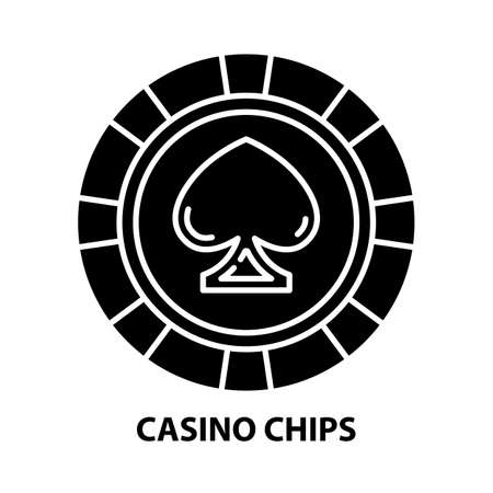 casino chips icon, black vector sign with editable strokes, concept illustration Иллюстрация