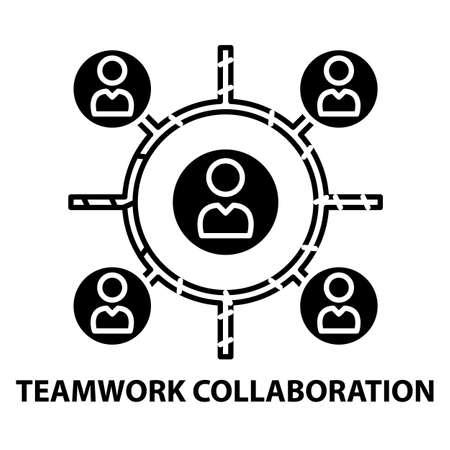teamwork collaboration icon, black vector sign with editable strokes, concept illustration