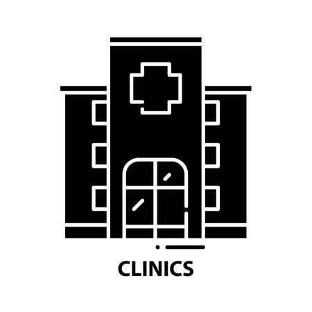 clinics icon, black vector sign with editable strokes, concept illustration