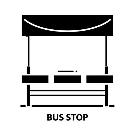 bus stop icon, black vector sign with editable strokes, concept illustration