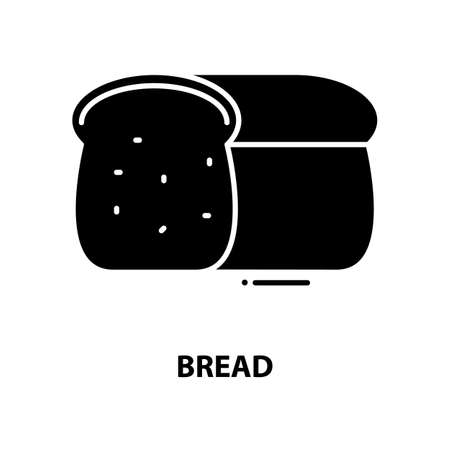 bread icon, black vector sign with editable strokes, concept illustration