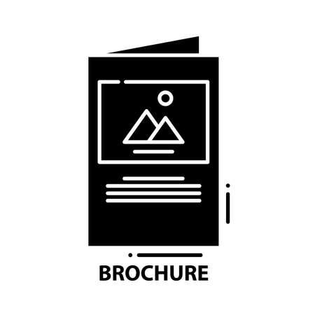 brochure icon, black vector sign with editable strokes, concept illustration