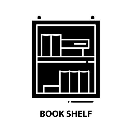 book shelf icon, black vector sign with editable strokes, concept illustration 向量圖像