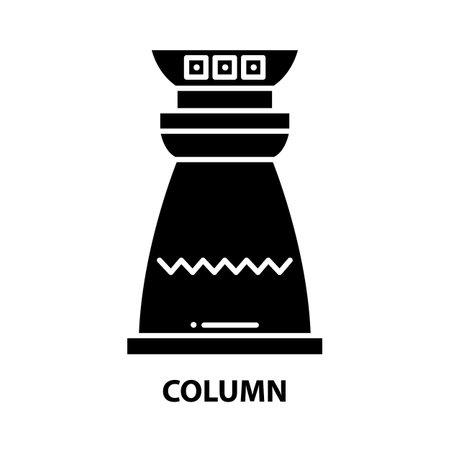 column icon, black vector sign with editable strokes, concept illustration