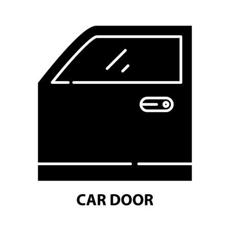 car door icon, black vector sign with editable strokes, concept illustration 向量圖像