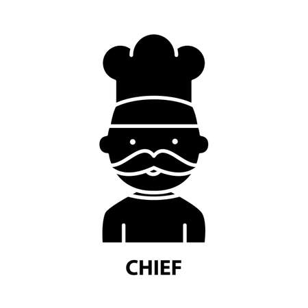 chief icon, black vector sign with editable strokes, concept illustration