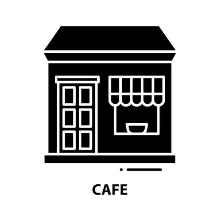 cafe icon, black vector sign with editable strokes, concept illustration 向量圖像