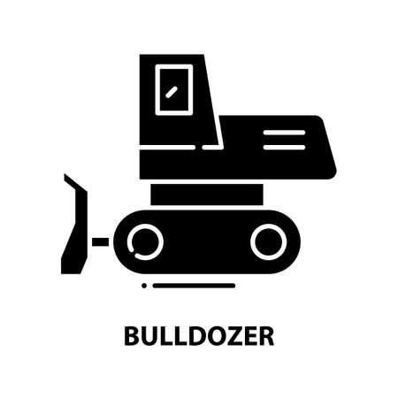 bulldozer icon, black vector sign with editable strokes, concept illustration