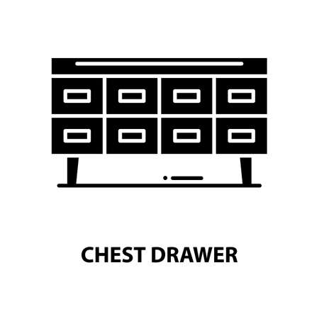 chest drawer icon, black vector sign with editable strokes, concept illustration