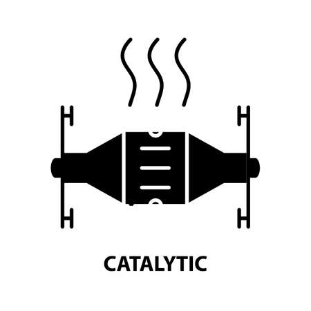 catalytic icon, black vector sign with editable strokes, concept illustration
