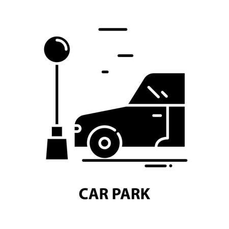 car park symbol icon, black vector sign with editable strokes, concept illustration