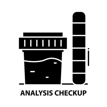 analysis checkup icon, black vector sign with editable strokes, concept illustration