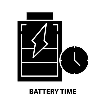 battery time icon, black vector sign with editable strokes, concept illustration 向量圖像