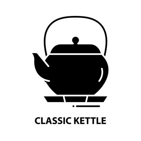 classic kettle icon, black vector sign with editable strokes, concept illustration