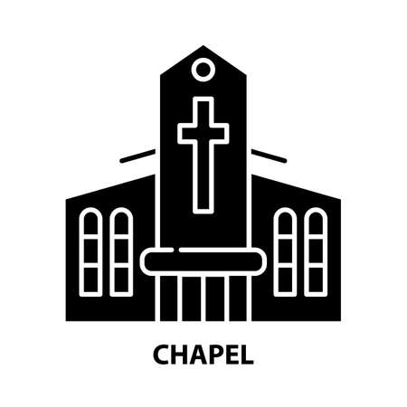 chapel icon, black vector sign with editable strokes, concept illustration 向量圖像