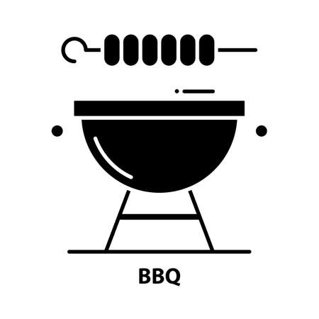bbq icon, black vector sign with editable strokes, concept illustration