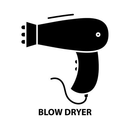 blow dryer symbol icon, black vector sign with editable strokes, concept illustration