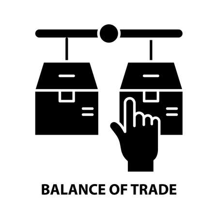 balance of trade icon, black vector sign with editable strokes, concept illustration