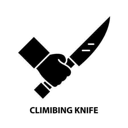 climibing knife icon, black vector sign with editable strokes, concept illustration