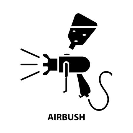 airbrush icon, black vector sign with editable strokes, concept illustration Иллюстрация