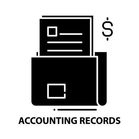 accounting records icon, black vector sign with editable strokes, concept illustration