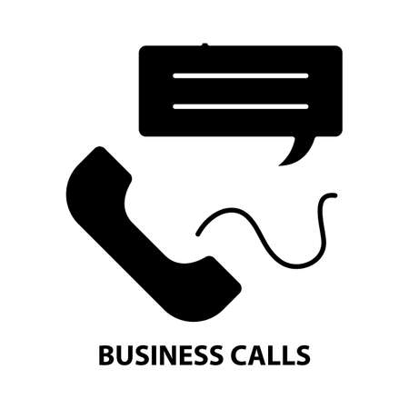 business calls icon, black vector sign with editable strokes, concept illustration