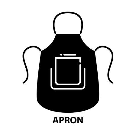 apron symbol icon, black vector sign with editable strokes, concept illustration Иллюстрация