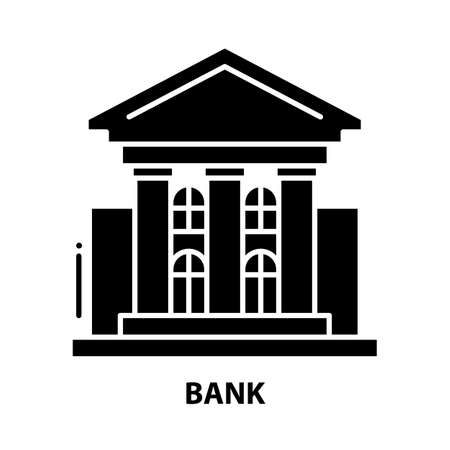 bank icon, black vector sign with editable strokes, concept illustration 向量圖像