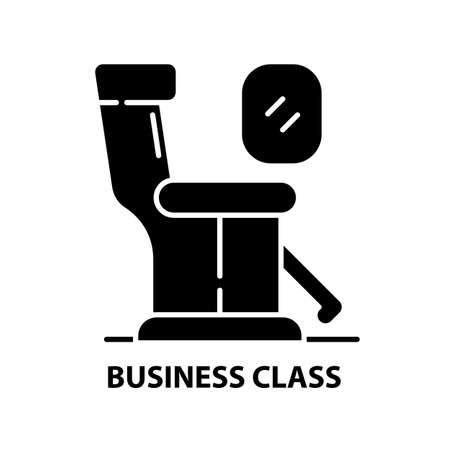 business class icon, black vector sign with editable strokes, concept illustration 向量圖像
