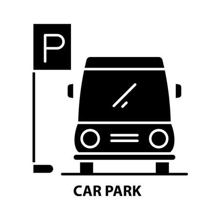 car park icon, black vector sign with editable strokes, concept illustration